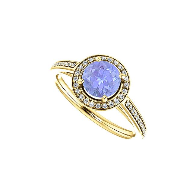 Unbranded Blue Cubic Zirconia Accented Tanzanite Halo In Vermeil Ring Unbranded Blue Cubic Zirconia Accented Tanzanite Halo In Vermeil Ring Image 1