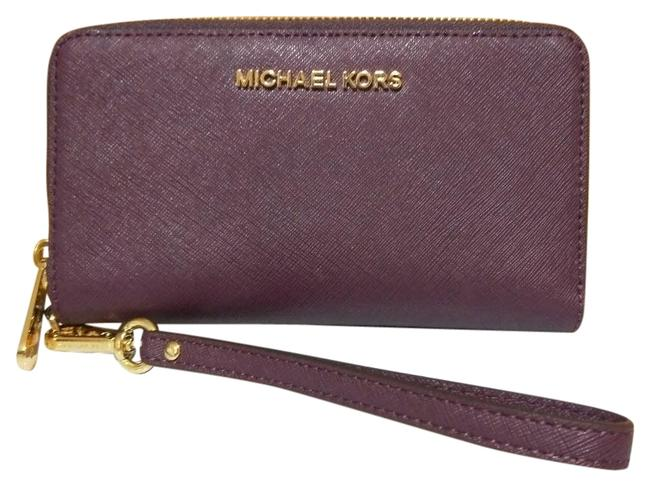 Michael Kors Purple Fulton Jet Set Large Flat Mf Phone Case Wristlet Wallet Michael Kors Purple Fulton Jet Set Large Flat Mf Phone Case Wristlet Wallet Image 1