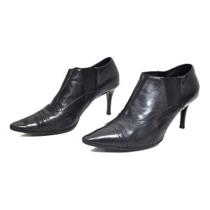Ralph Lauren Collection Leather Pointed Toe Black Boots