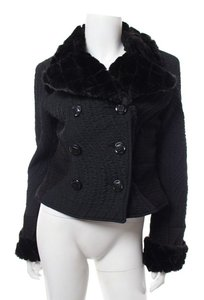 Custo Barcelona Faux Fur Double Breasted Black Jacket