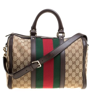 8291a53c0e0 Added to Shopping Bag. Gucci Satchel in Beige. Gucci Boston Brown Beige Gg  Canvas Medium Vintage Web ...