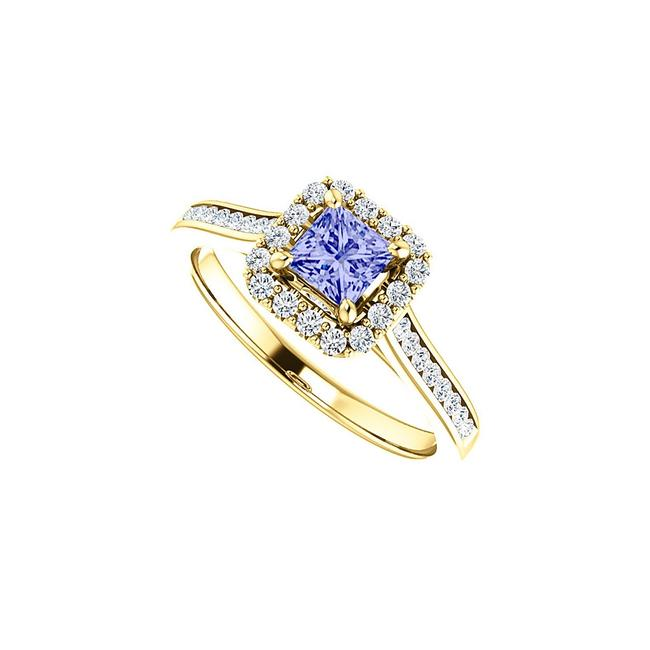 Unbranded Blue 1 Ct Channel Set Cz Accented Square Tanzanite Halo Ring Unbranded Blue 1 Ct Channel Set Cz Accented Square Tanzanite Halo Ring Image 1