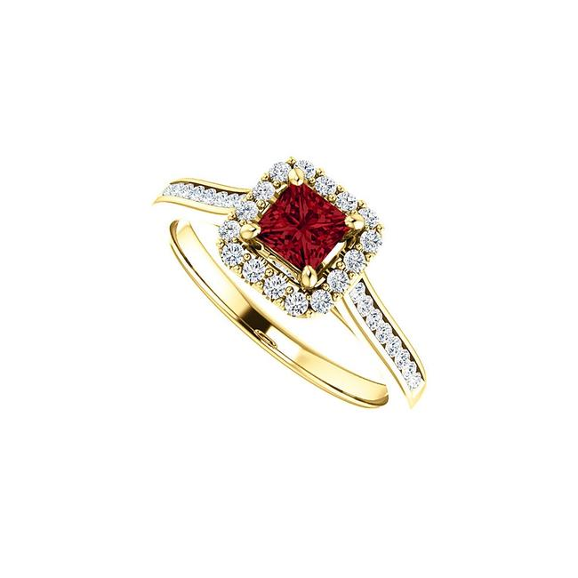 Unbranded Red Square Ruby Cubic Zirconia In 18k Yellow Gold Vermeil Ring Unbranded Red Square Ruby Cubic Zirconia In 18k Yellow Gold Vermeil Ring Image 1