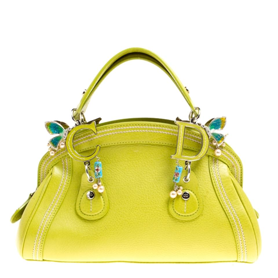 Dior Small Limited Edition 0076 Butterfly Detective Green Leather Satchel 0b0a72fe264e6
