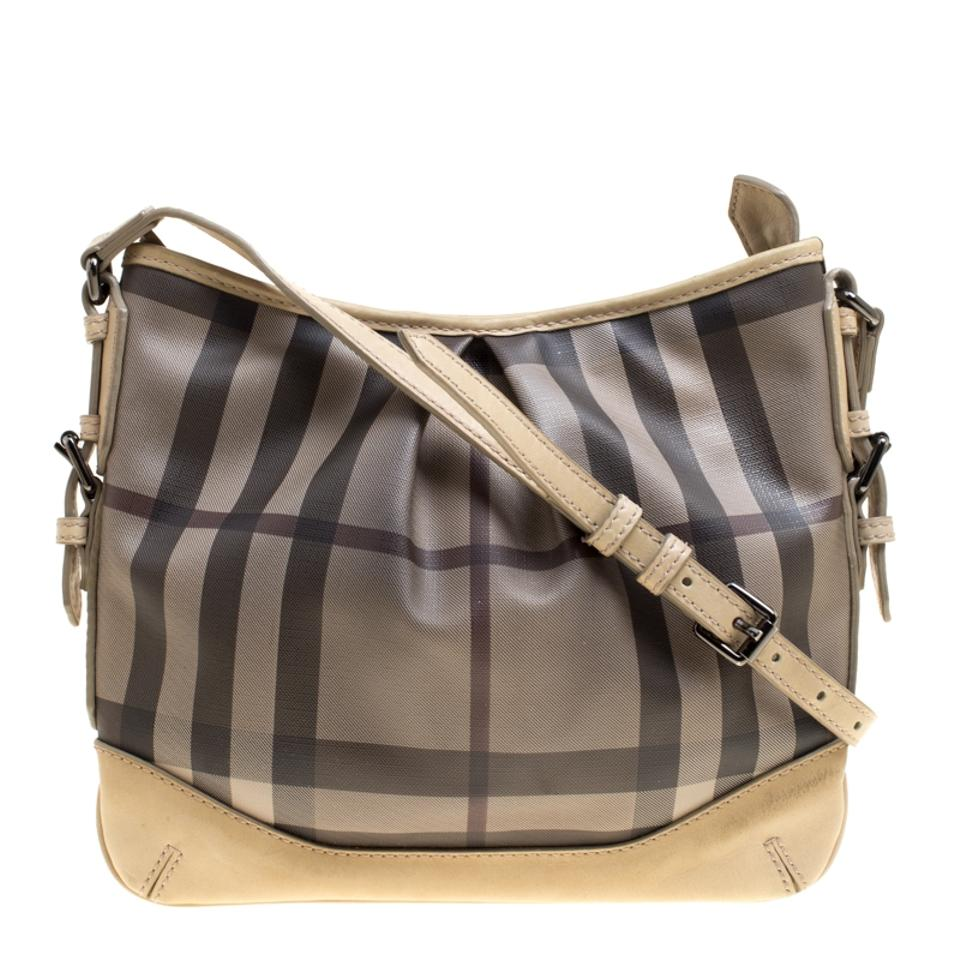 63e0be8a9 Burberry Smoke Check Pvc and Leather Crossbody Beige Canvas Shoulder ...