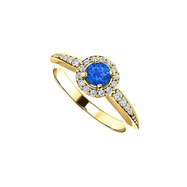 Unbranded Blue 0.75 Ct Sapphire Cz Halo 18k Yellow Gold Vermeil Ring Unbranded Blue 0.75 Ct Sapphire Cz Halo 18k Yellow Gold Vermeil Ring Image 1