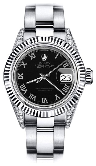 Preload https://img-static.tradesy.com/item/24132717/rolex-stainless-steel-black-roman-26mm-datejust-ss-and-18k-white-gold-fluted-bezel-and-diamond-watch-0-1-540-540.jpg