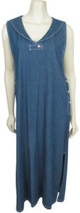 Baccini Denim Maxi Sleeveless Overalls Sailor Long 12 L 14 New Cotton Jeans Dress