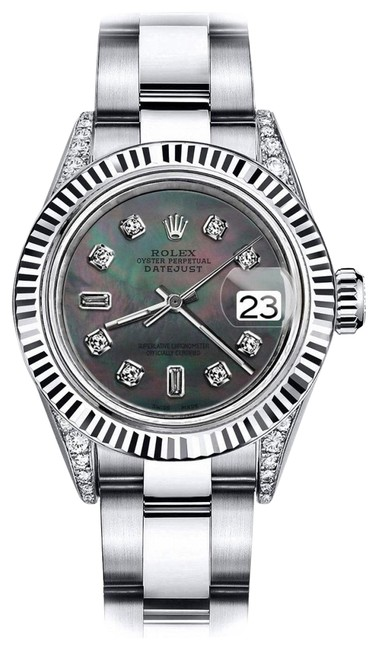 Rolex Stainless Steel Black Pearl 8+2 26mm Datejust & 18k Gold Fluted Bezel Watch Rolex Stainless Steel Black Pearl 8+2 26mm Datejust & 18k Gold Fluted Bezel Watch Image 1