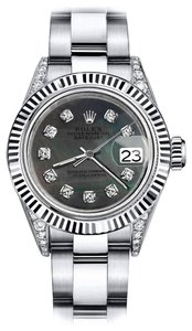 Rolex Rolex Black Pearl Roman 26mm Datejust SS & 18K Gold Bezel With Diamond