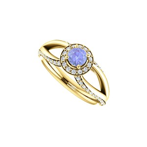 DesignByVeronica Tanzanite CZ Accented Open Leaf Design Ring in Vermeil