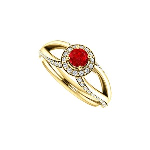DesignByVeronica Ruby CZ Accented Open Leaf Design Ring in Gold Vermeil