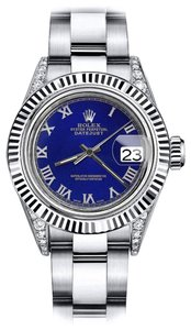 Rolex Rolex Blue Roman 26mm Datejust 18K White Gold Bezel & Stainless Steel