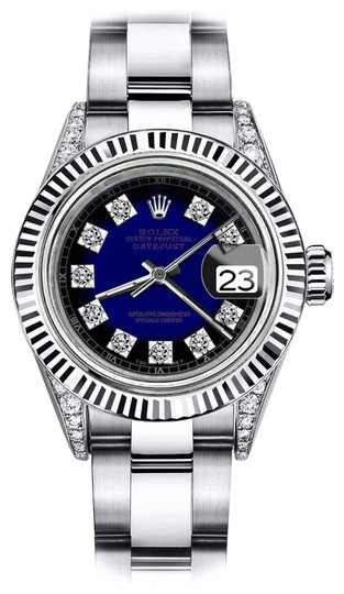 Preload https://img-static.tradesy.com/item/24132954/rolex-stainless-steel-blue-vignette-sp-26mm-datejust-18kss-genuine-diamonds-shoulders-watch-0-1-540-540.jpg