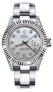 Rolex Rolex Grey Pearl 26mm Datejust 18K White Gold Fluted Bezel & Genuine