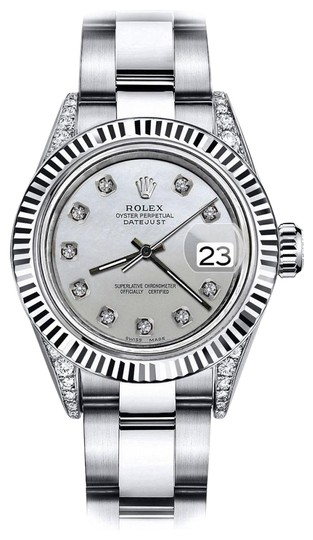 Preload https://img-static.tradesy.com/item/24132977/rolex-stainless-steel-grey-pearl-26mm-datejust-18k-white-gold-fluted-bezel-and-genuine-watch-0-1-540-540.jpg