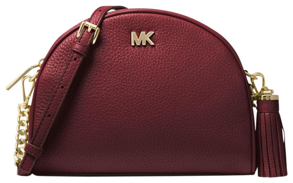 1085e62ffe16 Michael Kors Ginny Pebbled Half-moon 32f8gf5c0l Oxblood Leather ...