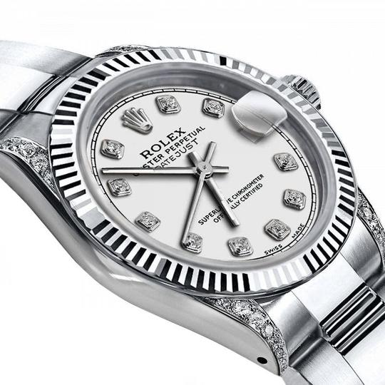 Rolex Rolex Ivory 26mm Datejust 18K White Gold & SS Diamond Shoulders Oyster