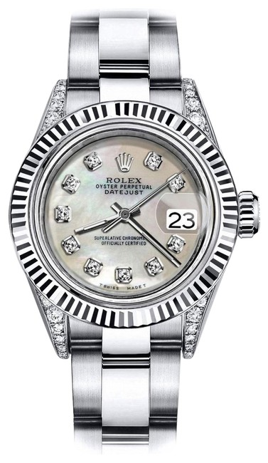 Rolex Stainless Steel Ivory Pearl 26mm Datejust 18k White Fluted Bezel with Ss Watch Rolex Stainless Steel Ivory Pearl 26mm Datejust 18k White Fluted Bezel with Ss Watch Image 1