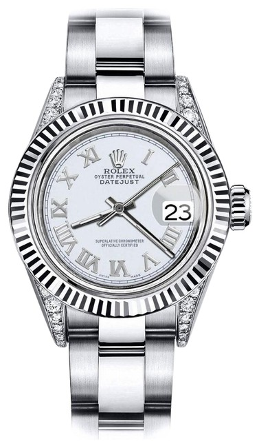 Rolex Stainless Steel Roman Ivory 26mm Datejust 18k White Fluted Bezel Watch Rolex Stainless Steel Roman Ivory 26mm Datejust 18k White Fluted Bezel Watch Image 1