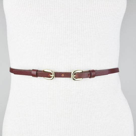 Trina Turk Trina Turk Genuine Leather Burgundy Double Buckle Belt
