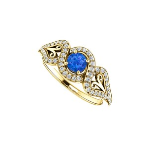 DesignByVeronica Sapphire CZ Crossover Halo Ring 18K Yellow Gold Vermeil