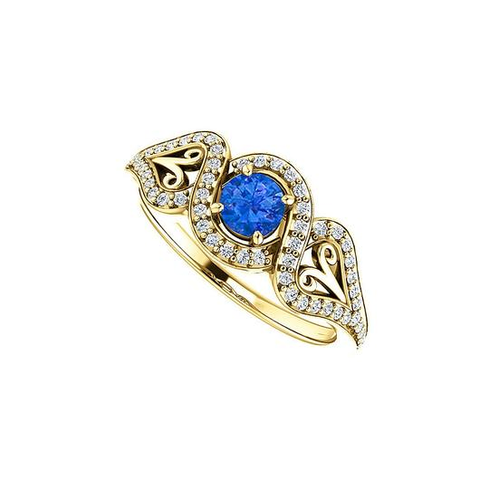 Preload https://img-static.tradesy.com/item/24133197/blue-sapphire-cz-crossover-halo-18k-yellow-gold-vermeil-ring-0-0-540-540.jpg