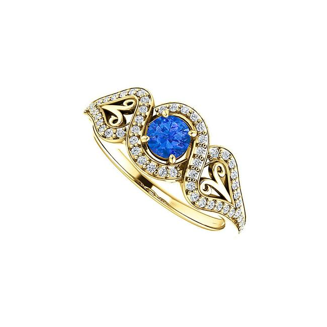 Unbranded Blue Sapphire Cz Crossover Halo 18k Yellow Gold Vermeil Ring Unbranded Blue Sapphire Cz Crossover Halo 18k Yellow Gold Vermeil Ring Image 1