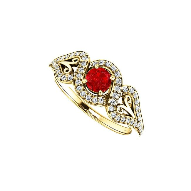 Unbranded Red Sapphire Cz Crossover Halo 18k Yellow Gold Vermeil Ring Unbranded Red Sapphire Cz Crossover Halo 18k Yellow Gold Vermeil Ring Image 1