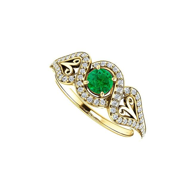 Unbranded Green Emerald Cz Crossover Halo 18k Yellow Gold Vermeil Ring Unbranded Green Emerald Cz Crossover Halo 18k Yellow Gold Vermeil Ring Image 1