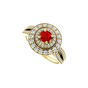 DesignByVeronica Double Halo Intro Curve Split Shank Ruby and CZ Ring