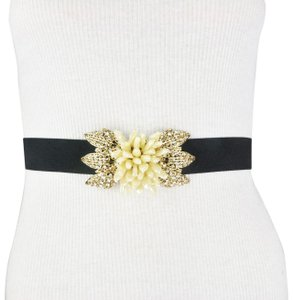 BCBGMAXAZRIA BCBG Black Gold Color Flower Rhinestone Faux Diamond