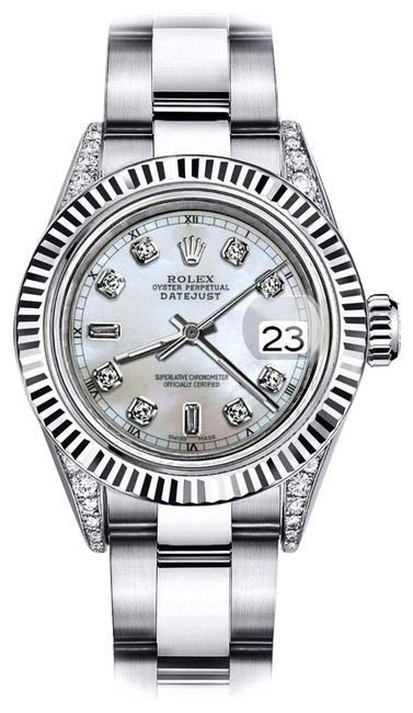 Rolex Stainless Steel White Pearl 8+2 26mm Datejust 18k White Gold Fluted Bezel & Real Watch Rolex Stainless Steel White Pearl 8+2 26mm Datejust 18k White Gold Fluted Bezel & Real Watch Image 1