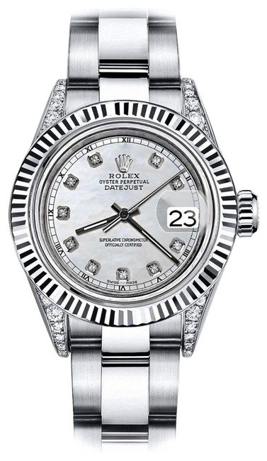 Rolex Stainless Steel White Pearl Track 26mm Datejust 18k White Fluted Bezel with Ss Watch Rolex Stainless Steel White Pearl Track 26mm Datejust 18k White Fluted Bezel with Ss Watch Image 1