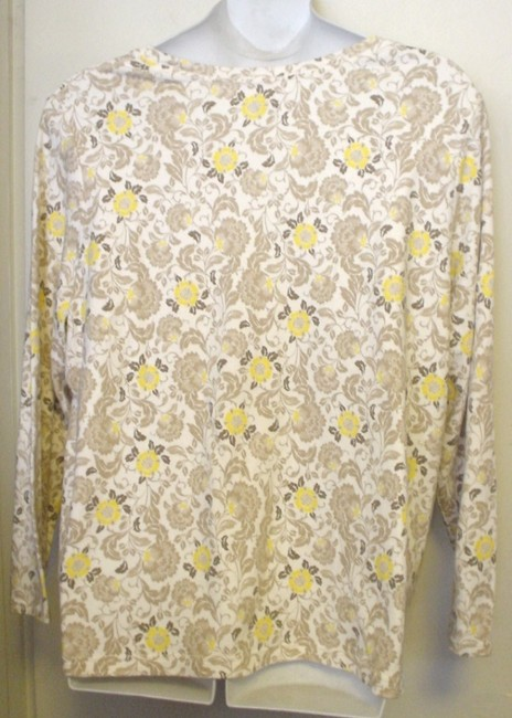 Basic Editions Longsleeve Floral T-shirt Plus-size T Shirt White Brown Yellow