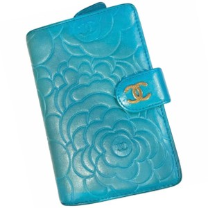Chanel CHANEL Turquoise Leather Special Edition Camellia Long Wallet