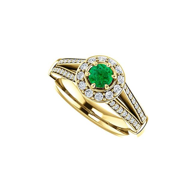 Unbranded Green Round Emerald and Cz Split Shank Halo 18k Vermeilz Ring Unbranded Green Round Emerald and Cz Split Shank Halo 18k Vermeilz Ring Image 1