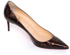 Christian Louboutin Patent Leather Decollete Red Bottom Brown Pumps