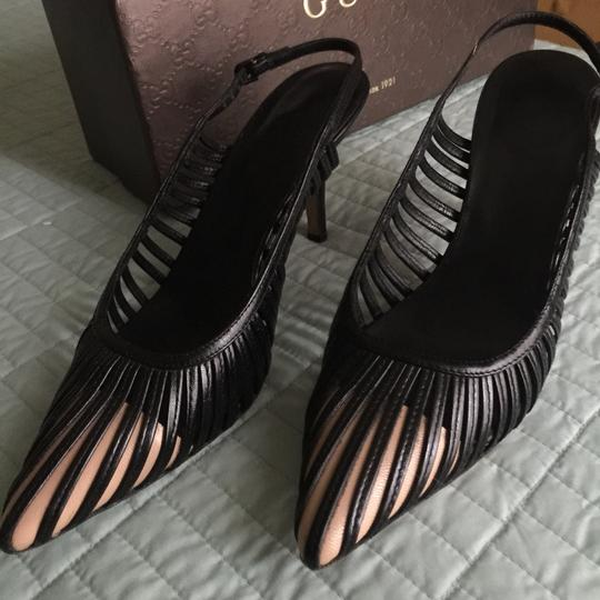 Gucci Dark coffee brown with light toffee accent on the toe cap Pumps