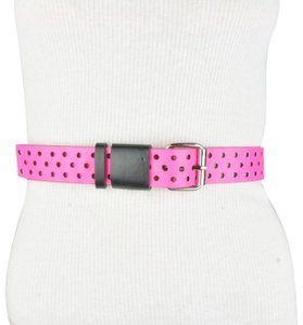 Unbranded Black Pink Faux Leather One Size Belt
