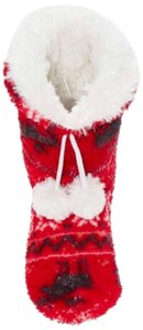 P.J. Salvage Faux Fur Drawstring Pompoms Red Flats