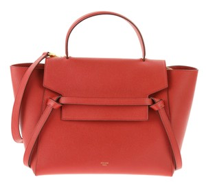 Céline Mini Belt Coqueliquot Satchel in Red