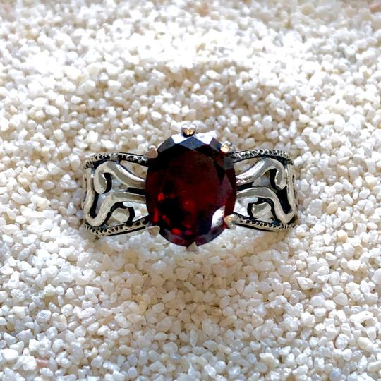 Silpada Super-RARE Sterling Silver Deep Red Oval CZ Ring #2751 size 7