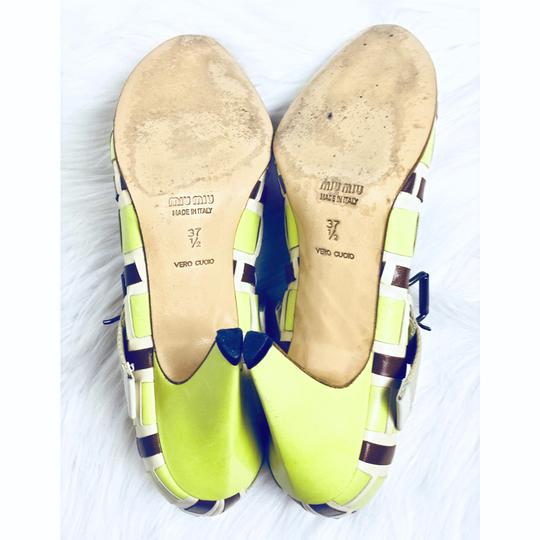 Miu Miu Mary Jane Vintage Leather Mary Jane Green Pumps