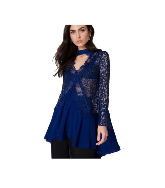 Free People short dress blue Navy Lace Mini on Tradesy