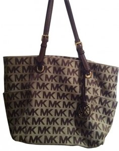 Michael Kors Handbag Block Monogram Signature Tot Tote in Brown