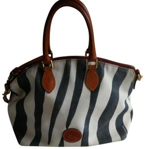 Dooney & Bourke Canvas Shoulder Leather Removable Strap Satchel in Off White and Navy