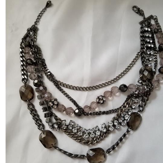 Express 6 strand stone and metal necklace