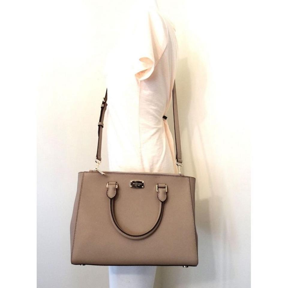 18cc4cb69cf4 Michael Kors Medium Kellen 302296653621 Dark Taupe Leather Satchel ...