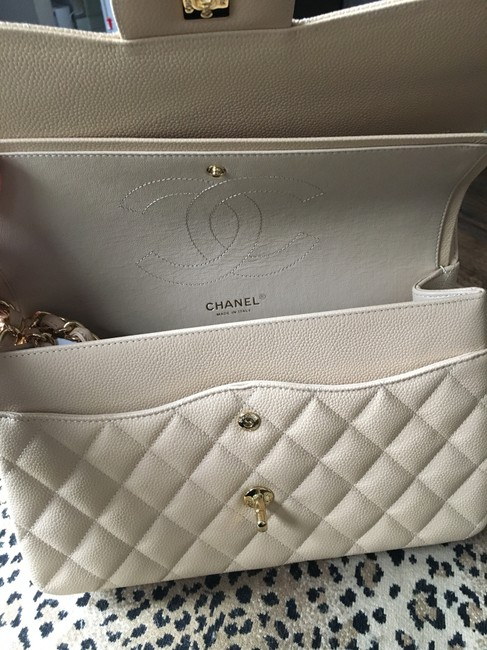 Chanel Double Flap Caviar Quilted Jumbo Beige/ Nude